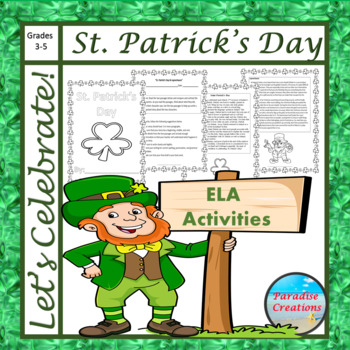 "CCSS ""ST. PATRICK'S DAY & LEPRECHAUNS"" TEXT-BASED WRITING ASSIGNMENT"