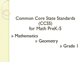 CCSS SWBAT Learning Goals Posters Grade 1 Math: Geometry