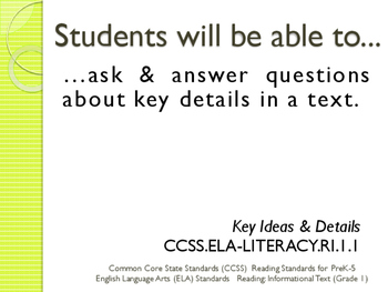 Common Core CCSS SWBAT Learning Goals Posters Grade 1 Reading Informational Text