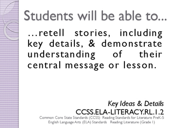 Common Core CCSS SWBAT Learning Goals Posters Grade 1 Reading Literature