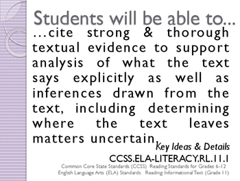 CCSS SWBAT Learning Goals Posters Grade 11 Reading: Informational Text ELA