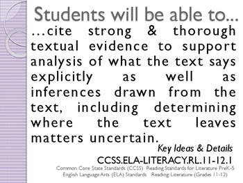 Common Core CCSS SWBAT Learning Goals Posters Grade 12 Reading Literature