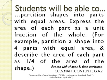 CCSS SWBAT Learning Goals Posters Grade 3 Math: Geometry