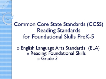 CCSS SWBAT Learning Goals Posters Grade 3 Reading: Foundat