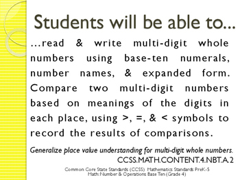 CCSS SWBAT Learning Goals Posters Grade 4 Math: Number Base 10