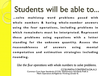 CCSS SWBAT Learning Goals Posters Grade 4 Math: Operations & Algebraic