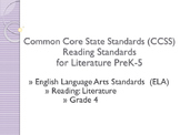 CCSS SWBAT Learning Goals Posters Grade 4 Reading: Literature