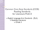 Common Core CCSS SWBAT Learning Goals Posters Grade 5 Read