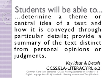 CCSS SWBAT Learning Goals Posters Grade 6 Reading: Informational Text ELA