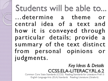 CCSS SWBAT Learning Goals Posters Grade 6 Reading: Literature