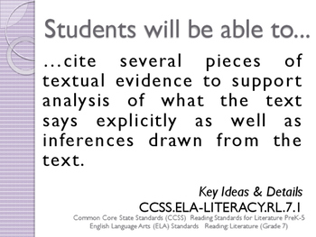 Common Core CCSS SWBAT Learning Goals Posters Grade 7 Reading Literature