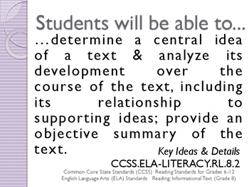 CCSS SWBAT Learning Goals Posters Grade 8 Reading: Informational Text ELA