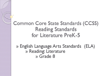 Common Core CCSS SWBAT Learning Goals Posters Grade 8 Reading Literature
