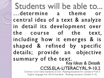 Common Core CCSS SWBAT Learning Goals Posters Grade 9 Reading Literature