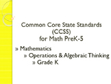 CCSS SWBAT Learning Goals Posters Grade K Math: Operations & Algebraic