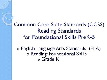 CCSS SWBAT Learning Goals Posters Grade K Reading: Foundational Skills ELA