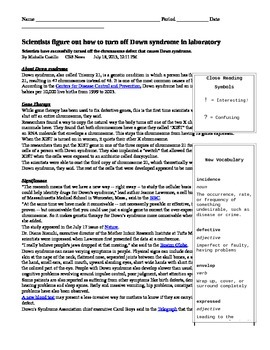 Common Core Science: Down syndrome (Reading With Text-Dependent Questions)