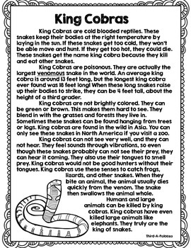 CCSS Snakes Vol. 1 Close Reading Bundle + Text Dependent Questions