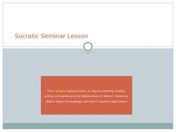 CCSS Socratic Seminar: An Inquiry Lesson Related to the De