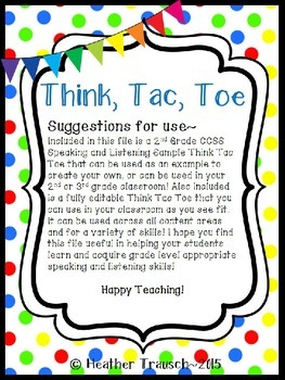 CCSS Speaking & Listening Think Tac Toe