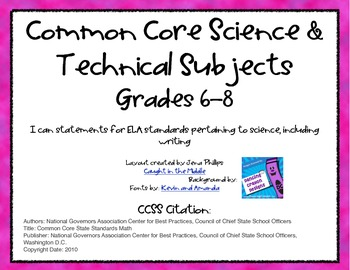 CCSS Standards Posters for Science & Technical Subjects