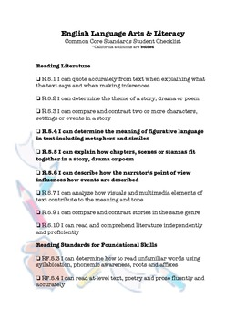 """CCSS Student """"I Can"""" Checklist ELA (CA additions_1 column format)"""