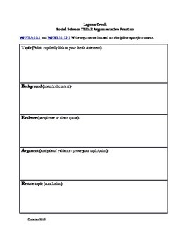 CCSS TBEAR Body Paragraph Worksheet