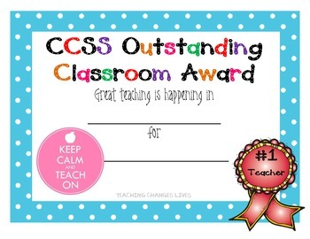 CCSS Teacher Award