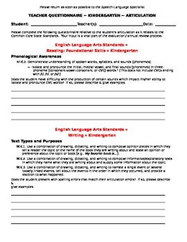 CCSS Teacher Questionnaire ~ Articulation ~ Kindergarten