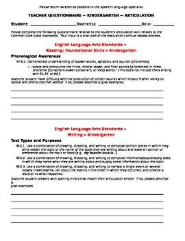 CCSS Teacher Questionnaire ~ Articulation ~ Kindergarten