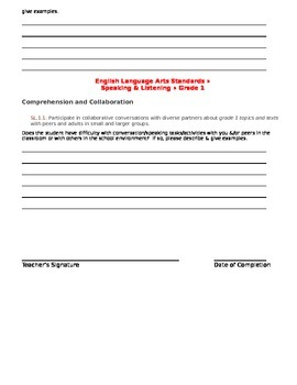 CCSS Teacher Questionnaire ~ Articulation ~ Grade 1