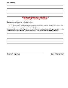 CCSS Teacher Questionnaire ~ Articulation ~ Grade 2