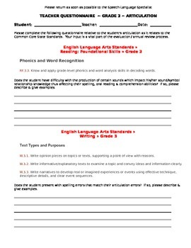 CCSS Teacher Questionnaire ~ Articulation ~ Grade 3