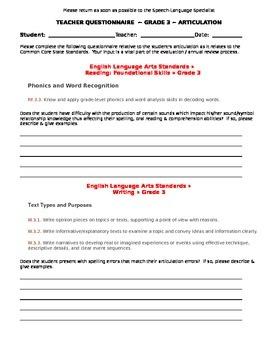 CCSS Teacher Questionnaire ~ Articulation ~ Grade 3