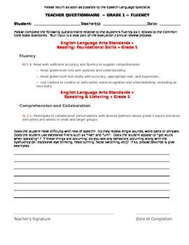 CCSS Teacher Questionnaire ~ Fluency ~ Grade 1
