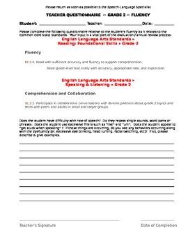 CCSS Teacher Questionnaire ~ Fluency ~ Grade 2
