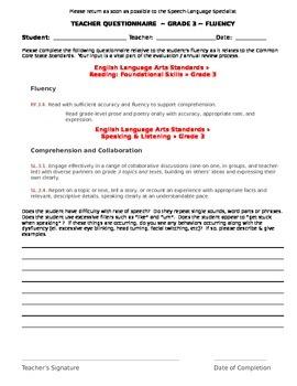 CCSS Teacher Questionnaire ~ Fluency ~ Grade 3