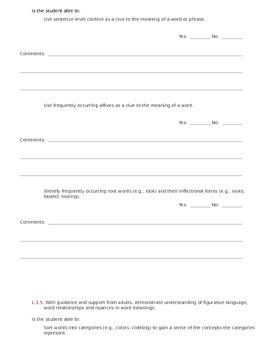 CCSS Teacher Questionnaire ~ Language ~ Grade 1