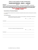 CCSS Teacher Questionnaire ~ Language ~ Grade 3
