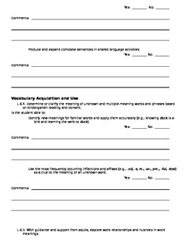 CCSS Teacher Questionnaire ~ Language ~ Kindergarten