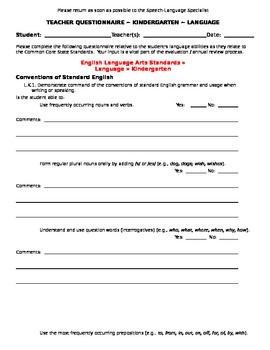 CCSS Teacher Questionnaire ~ Language ~ Kindergarten