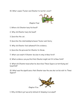 "CCSS Text Based Novel Questions ""Cricket in Times Square"""