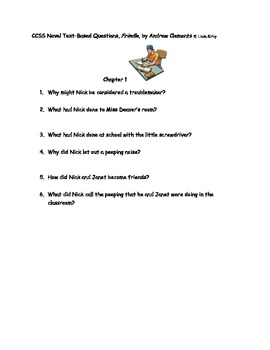 "CCSS Text Based Novel Questions ""Frindle"""