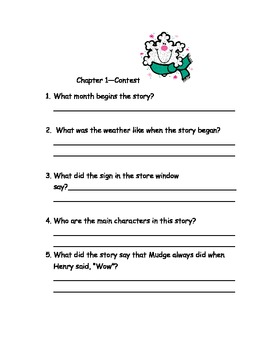 CCSS Text Based Questions Chapter Book Henry and Mudge & the Snowman Plan