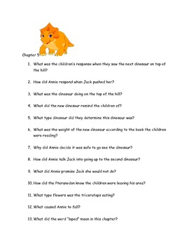 """CCSS Text Based Questions Novel """"Magic Tree House 1, Dinos"""