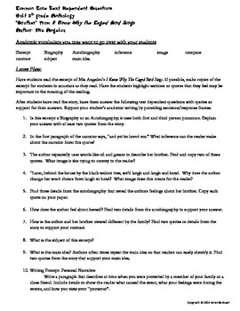CCSS Text Dependent Questions for Maya Angelou's I Know Why The Caged Bird Sings