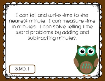 "Third Grade Math CCSS ""I Can"" Posters {Owl Theme}"