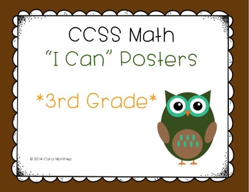 """Third Grade Math CCSS """"I Can"""" Posters {Owl Theme}"""