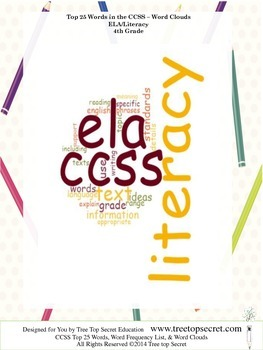 CCSS ELA/Literacy Top 25 Word List and Frequency - 4th Grade