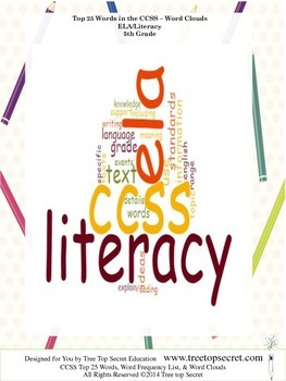 CCSS ELA/Literacy Top 25 Word List and Frequency - 5th Grade